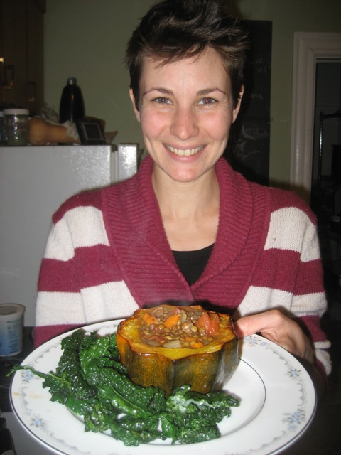 Here I am with the food Liz and I cooked together last Sunday!