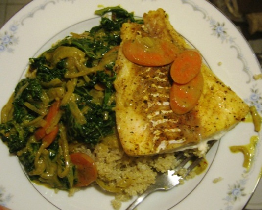Coconut Fish Curry with Greens and Quinoa, looks like dinner!