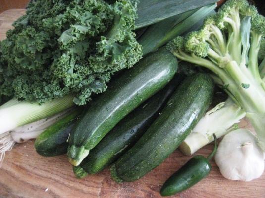 Green Soup ingredients: leeks, kale, zucchini, broccoli, jalapeno and garlic.