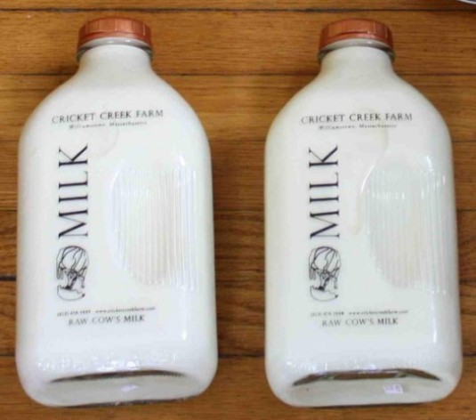 Raw cow's milk in glass bottles from Cricket Creek.