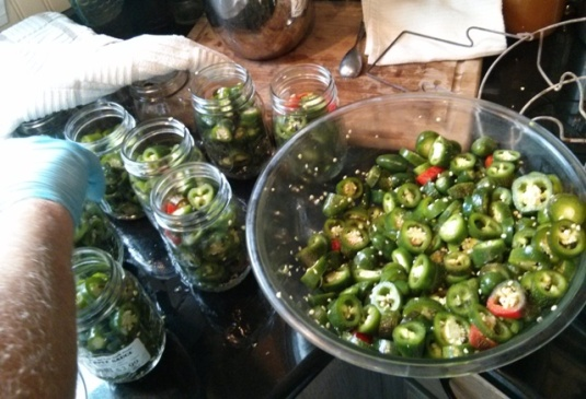 Use gloves to protect your hands (and eyes!) when handling the peppers.