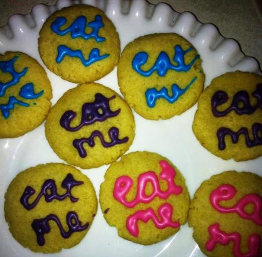 My friend Bobbie made these cookies for a tea party, wordy icing optional!
