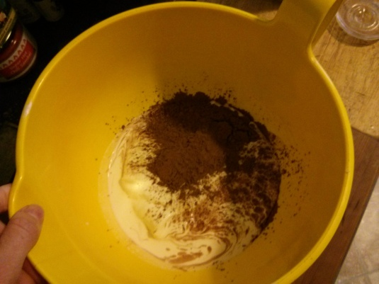The nut butter sank to the bottom, all the ingredients ready for blending!