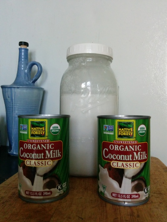 Two cans of coconut milk will make up to two 64 oz Mason jars.