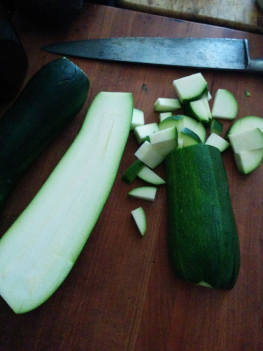 Zucchini chopped into bite sized pieces.