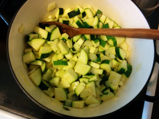 Sautee the zucchini and onions