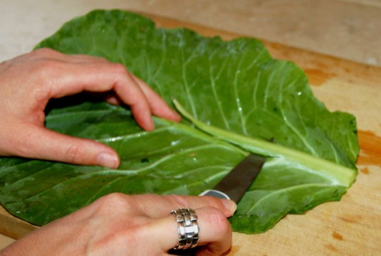 MindBodyGreen.com collard trimming for wraps